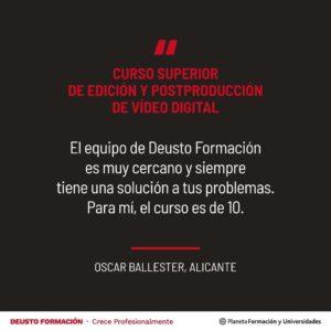 Opinión sobre el Curso Superior de Edición y Postproducción de Vídeo Digital